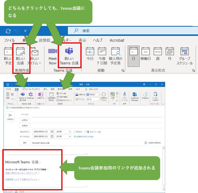 各クライアントで、「新しい会議」をクリックしても、Teams会議のリンクが本文に追加されるようになる。
