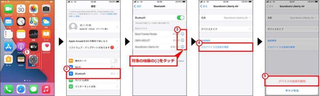 「設定」→「Bluetooth」→対象機器の(i)→「このデバイスの登録を解除」→「デバイスの登録を解除」を順にタッチ