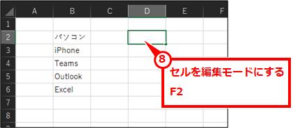 セルを編集モードにする F2